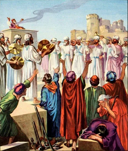 Artistic portrayal of the Jewish remnant reacting to Zerubbabel laying the foundation of the Second Temple (ca. 538 BC)