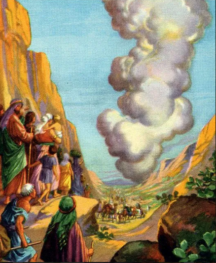 illustration of the children of Israel following the pillar of the cloud into the Promised Land.