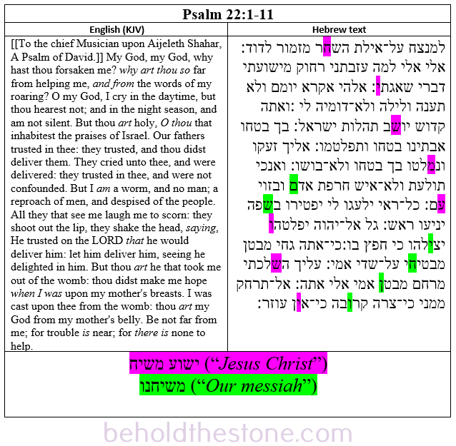 Comparative 2 column table showing the Hebrew text of Psalm 22:6-11 in the column on the right, and the English translation (KJV) in the column on the left. The full Bible code of Psalm 22 is highlighted in the Hebrew text in pink and green.