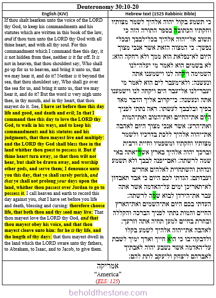 Screenshot of a two column table showing the ELS code about America in Deuteronomy 30:10-20.