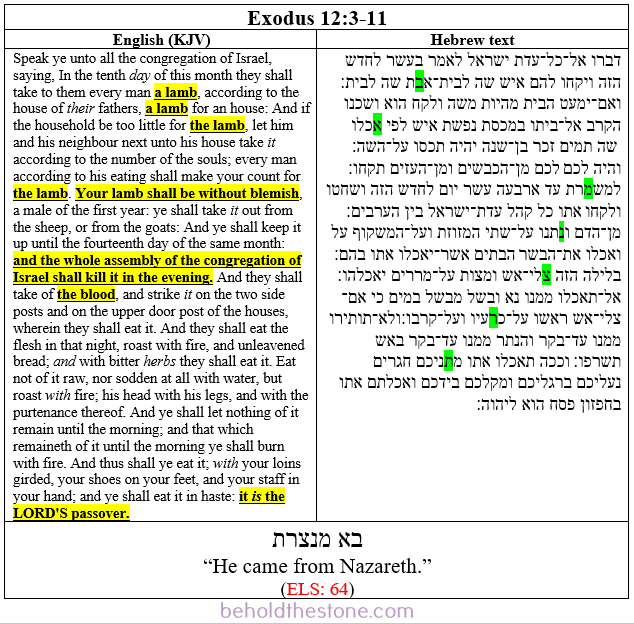 Screenshot of a two-column table documenting a Type 1 ELS Bible code in Exodus 12:3-11. In the right-hand column the Hebrew text is shown with the letters comprising the ELS code highlighted in green. In the left-handed column the English translation of the passage is supplied, with the line that is particularly relevant to the ELS code highlighted in yellow.